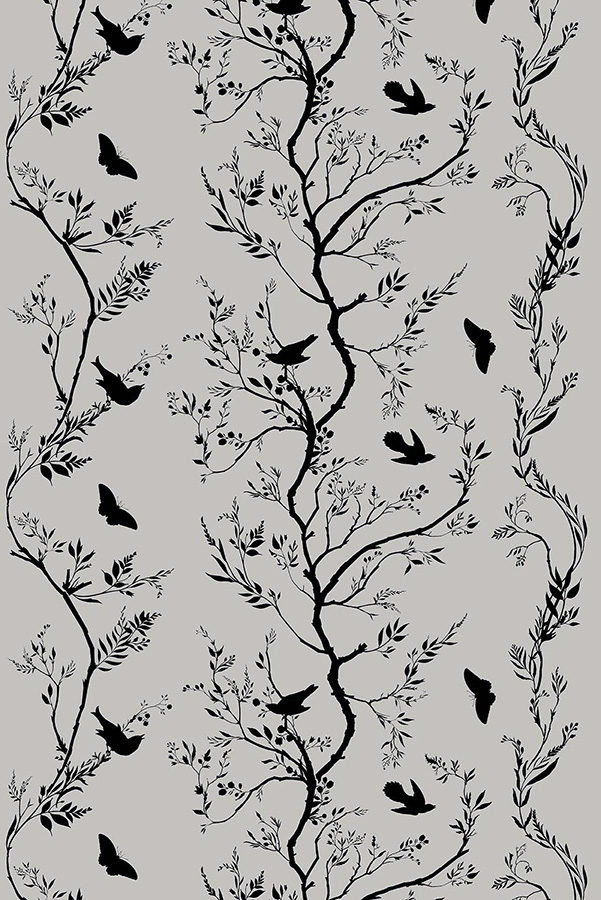 Birdbranch Stripe - Velvet Fabric - Black on Grey