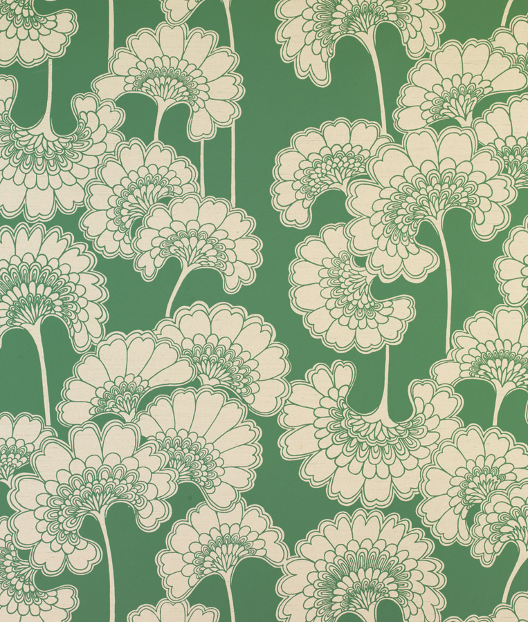 Japonese Floral in Sage on Crimsilk Slub