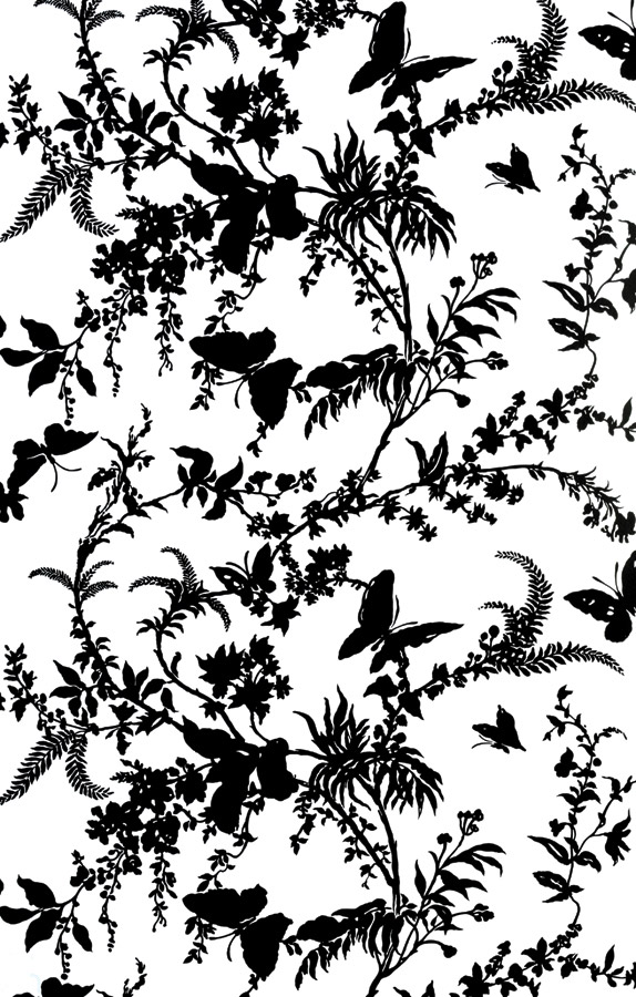 Tropical Floral in Matt Black on White Gloss